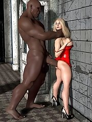 sexy lady in red plays with giant 3d dick