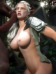 Busty elf tries threesome sex outdoor
